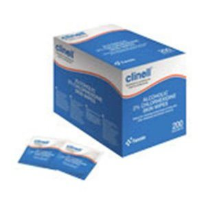 Clinelle 2% Chlorhexidine with alcohol skin wipes (200)
